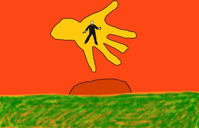 Peter Garrett dancing on the Midnight Oil hand over the Australian Landscape
