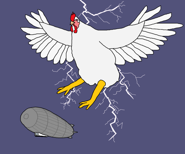 Chicken attacking a zeppelin 8 Lightning Bolt