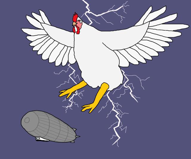 Chicken attacking a zeppelin 8 Lightning Bolt